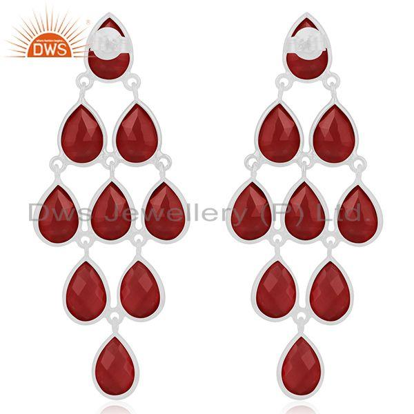 Suppliers Red Onyx Gemstone 925 Sterling Fine Silver Dangle Earrings Manufacturer India