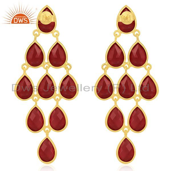 Suppliers 14k Gold Plated 925 Silver Red Onyx Gemstone Earring Manufacturers