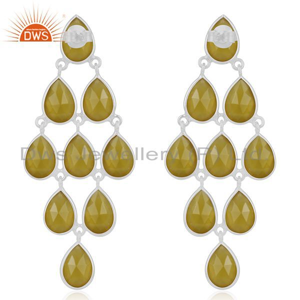 Suppliers Yellow Chalcedony Gemstone 925 Fine Silver Earring Manufacturer from India