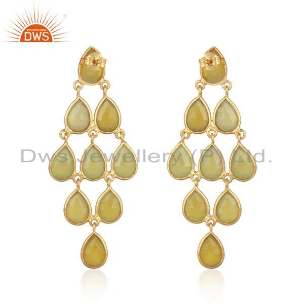 Designer of 18k yellow gold on silver yellow chalcedony chandelier earring