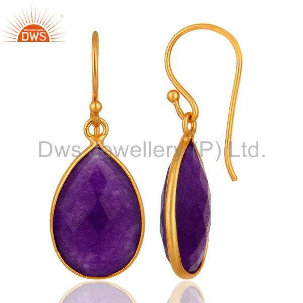 Designers Aventurine Amethyst Gemstone Bezel-Set Drop Earrings In 18K Gold Over Silver