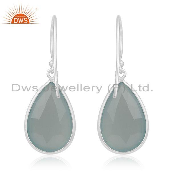 Suppliers Aqua Chalcedony Gemstone 925 Sterling Silver Earring Manufacturer from Jaipur