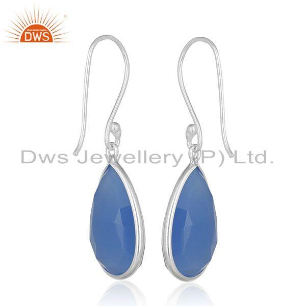 Suppliers 925 Silver Blue Gemstone Drop Earrings Silver Jewelry Manufacturer for Designers