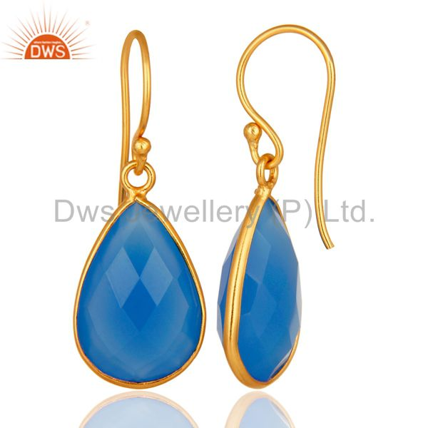 Designers 18K Gold Plated Sterling Silver Bezel-Set Chalcedony Faceted Gemstone Earrings