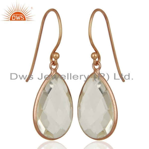 Suppliers 18K Rose Gold Plated Sterling Silver Crystal Quartz Bezel Set Drop Earrings