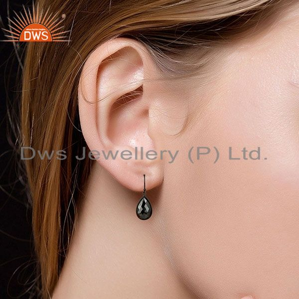 Designers Black Rhodium Plated Sterling Silver Faceted Pyrite Bezel Set Drop Earrings