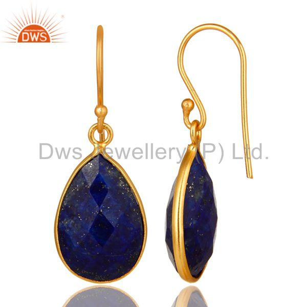 Suppliers 18K Yellow Gold Plated Sterling Silver Lapis Lazuli Faceted Bezel Drop Earrings