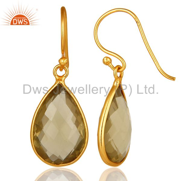 Designers Natural Lemon Topaz Bezel-Set Gemstone Drop Earrings In 18K Gold Over 925 Silver