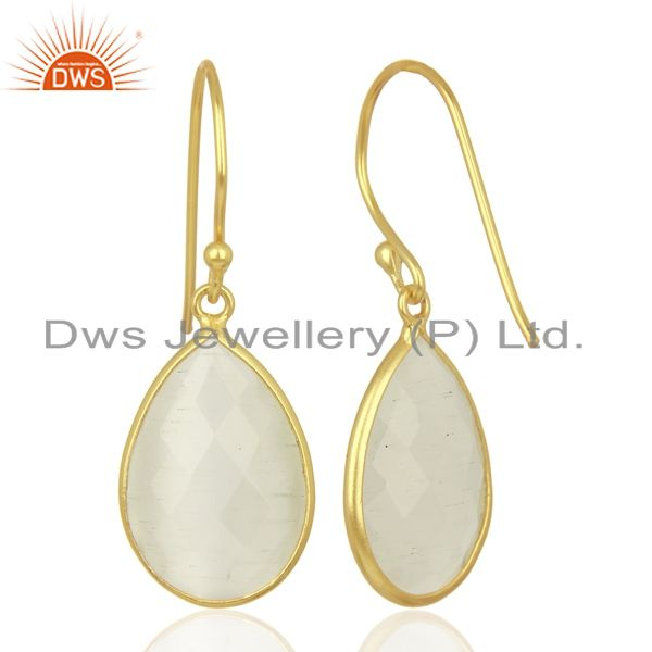 Suppliers 14K Yellow Gold Plated Sterling Silver White Moonstone Bezel Set Drop Earrings
