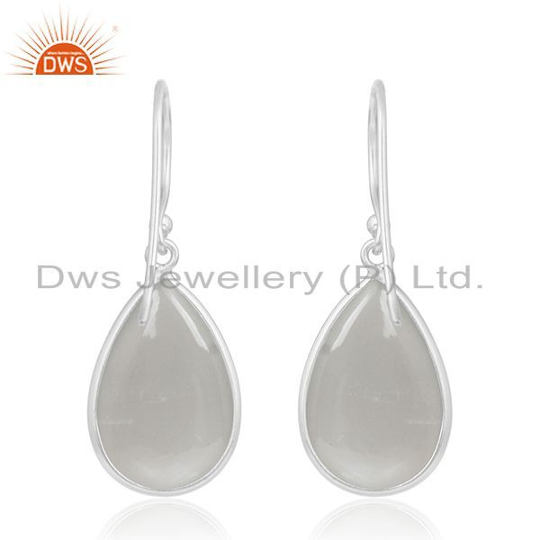 Suppliers Grey Moonstone Bezel Set Gemstone 925 Sterling Fine Silver Drop Earring Supplier