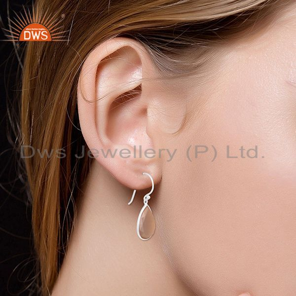 Suppliers Rose Chalcedony Gemstone 925 Fine Silver Earring Manufacturer Jaipur