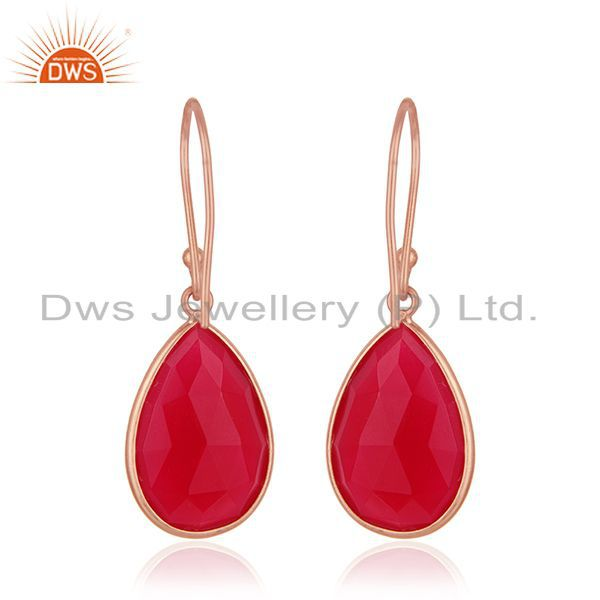 Suppliers Pink Chalcedony Gemstone Rose Gold Plated 925 Silver Drop Earrings Wholesale
