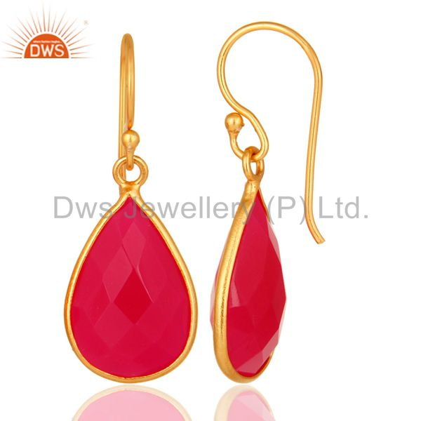 Designers Bezel-Set Faceted Pink Chalcedony 14K Gold Plated Sterling Silver Earrings