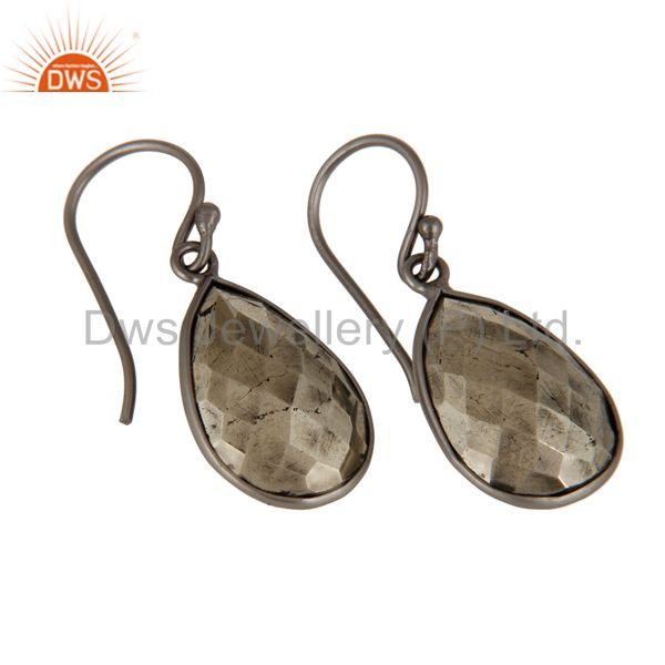 Suppliers Black Rhodium Plated Sterling Silver Faceted Pyrite Bezel Set Drop Earrings