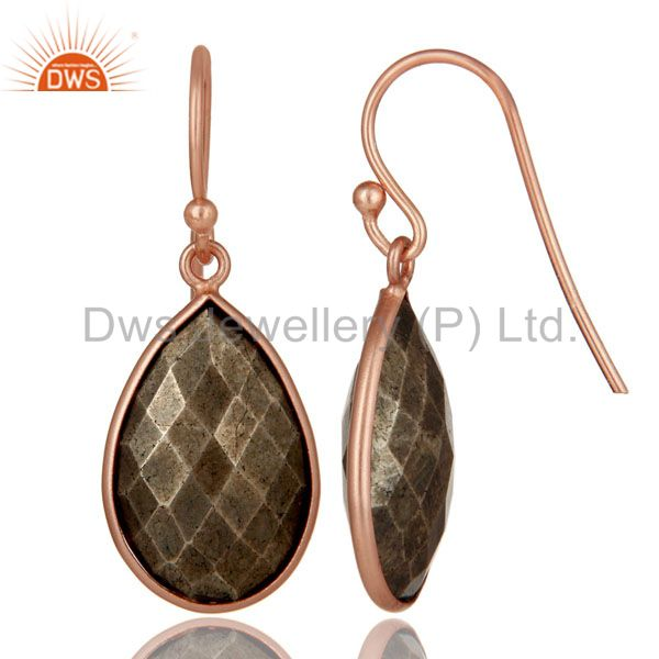 Designers 18K Rose Gold Plated Sterling Silver Golden Pyrite Bezel Set Teardrop Earrings