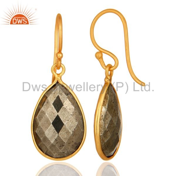 Suppliers 18K Yellow Gold Plated Sterling Silver Faceted Pyrite Bezel Set Teardrop Earring