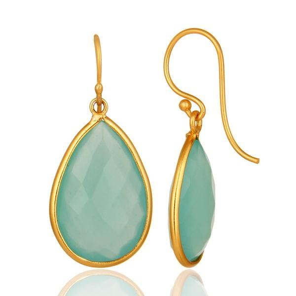 Designers Faceted Green Glass Gemstone Sterling Silver Dangle Earrings With Gold Plated