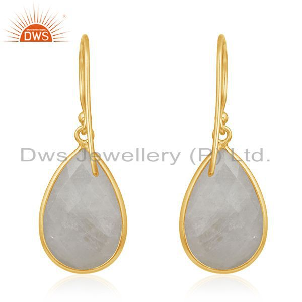 Suppliers Gold Plated 925 Silver Rainbow Moonstone Drop Earring Manufacturer From Jaipur