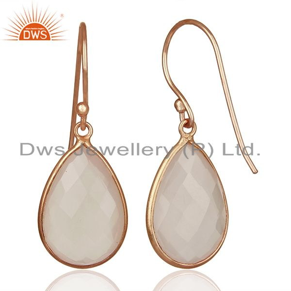 Suppliers 18K Rose Gold Plated Sterling Silver Faceted Rose Quartz Gemstone Drop Earrings