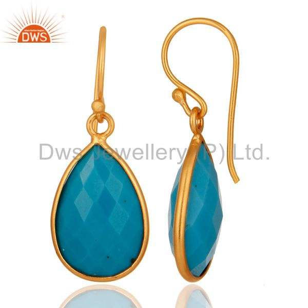 Suppliers 18K Yellow Gold Plated Sterling Silver Faceted Turquoise Bezel Teardrop Earrings
