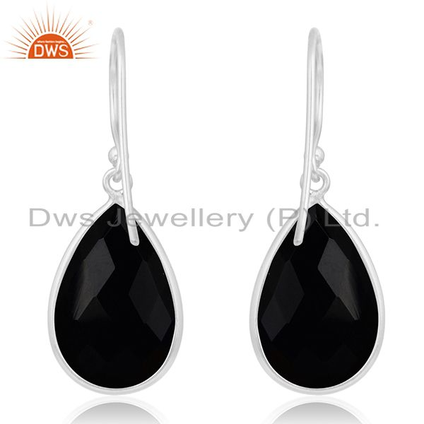Suppliers 925 Sterling Silver Faceted Black Onyx Gemstone Bezel Set Dangle Earrings