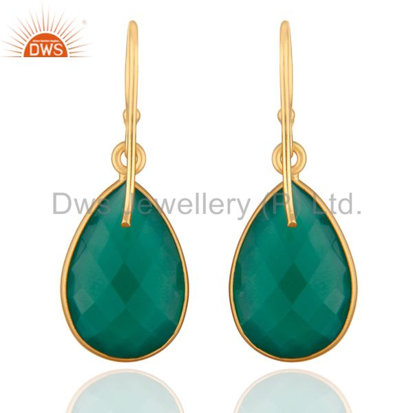 Designers 925 Sterling Silver Faceted Green Onyx Gemstone Drop Earrings - Gold Plated
