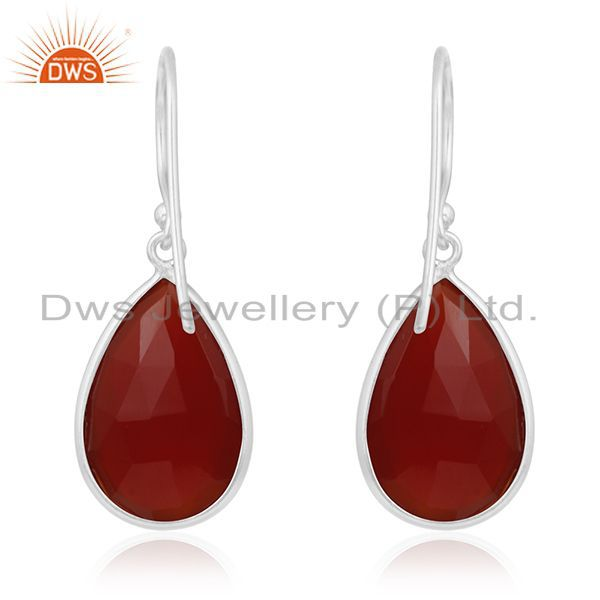 Suppliers Red Onyx Gemstone Sterling Fine Silver Earring Manufacturer of Custom Jewelry