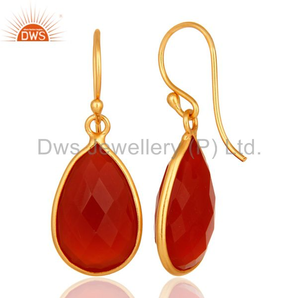 Designers Natural Red Onyx Gold Plated Sterling Silver Bezel-Set Gemstone Drop Earrings