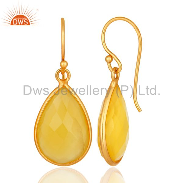 Designers Gold Plated Sterling Silver Yellow Chalcedony Framed Gemstone Drop Earrings