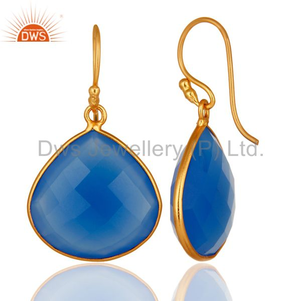 Designers 18K Gold Plated Sterling Silver Blue Chalcedony Faceted Gemstone Earrings