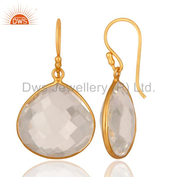 Designers 18K Yellow Gold Plated Sterling Silver Crystal Quartz Bezel Set Earrings