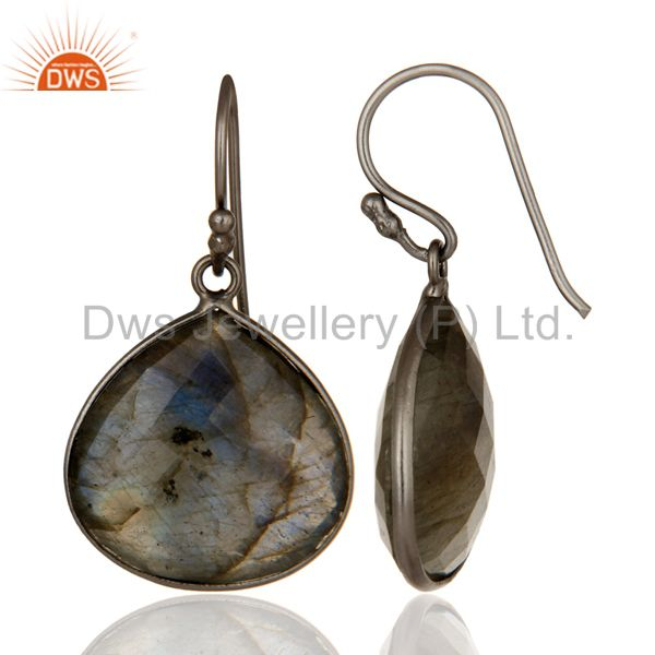 Designers Black Rhodium Plated Sterling Silver Labradorite Gemstone Drop Earrings