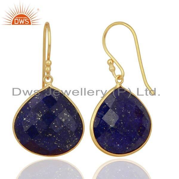 Suppliers 18K Yellow Gold Plated Sterling Silver Lapis Lazuli Gemstone Bezel Set Earrings