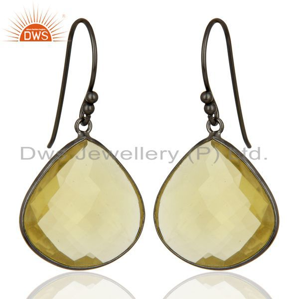 Suppliers Oxidized Sterling Silver Natural Lemon Topaz Gemstone Bezel Set Drop Earrings
