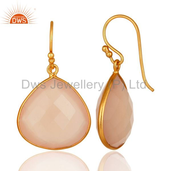 Designers 24K Gold Plated Sterling Silver Faceted Rose Chalcedony Gemstone Earrings