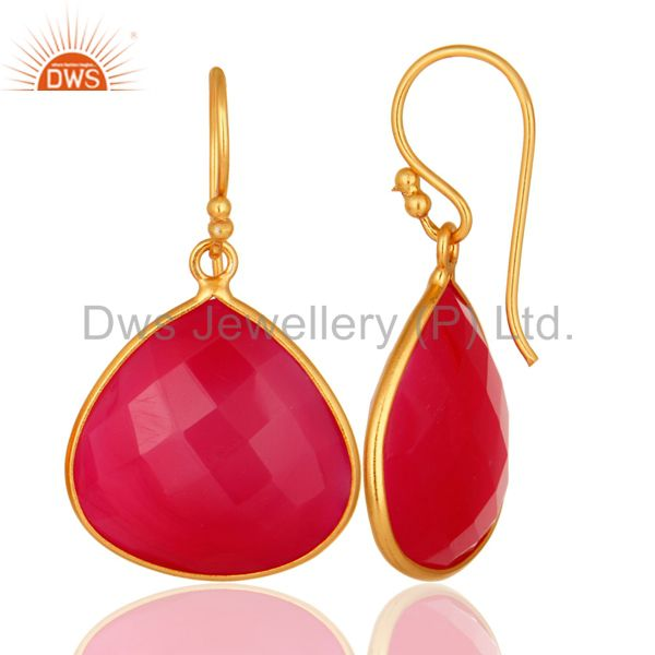 Designers Dyed Chalcedony Gemstone Sterling Silver Drop Earrings - Yellow Gold Plated