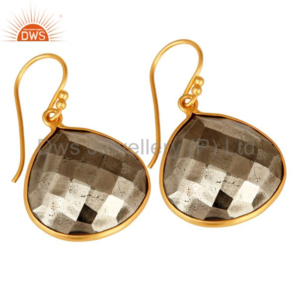 Suppliers 14K Yellow Gold Plated Sterling Silver Faceted Pyrite Bezel Set Drop Earrings