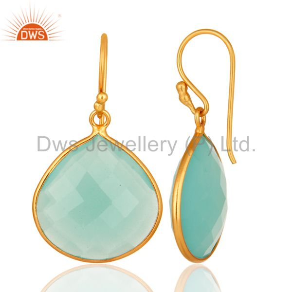 Designers Dyed Aqua Blue Chalcedony Gemstone 18K Gold Over Sterling Silver Dangle Earrings