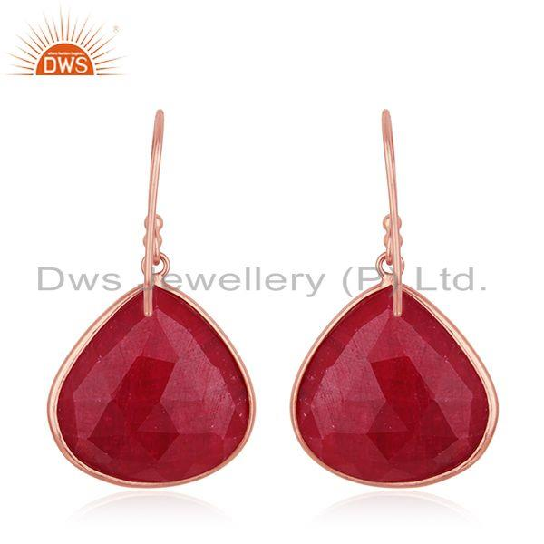 Suppliers Rose Gold Plated 925 Silver Ruby Corundum Gemstone Drop Earrings Manufacturer