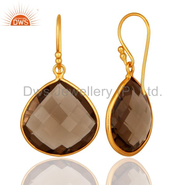 Designers Faceted Smoky Quartz 18K Gold Plated Sterling Silver Bezel-Set Hook Earrings