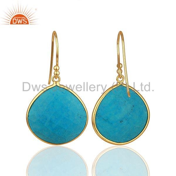 Suppliers Handmade 925 Silver Gold Plated Turquoise Gemstone Drop Earrings