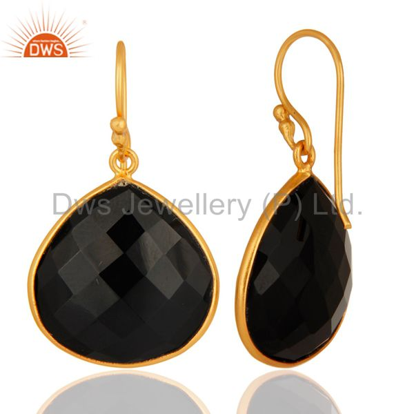 Designers 18K Gold Plated Sterling Silver Black Onyx Faceted Gemstone Earrings
