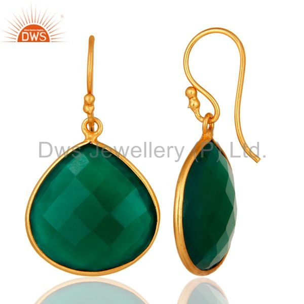 Designers Faceted Green Onyx Gemstone 24K Gold Plated Sterling Silver Drop Earrings