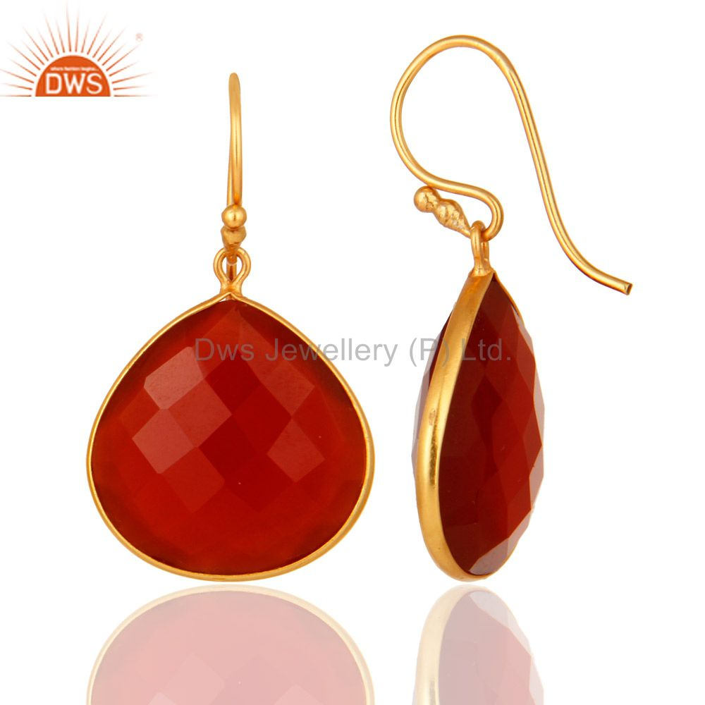 Designers 18k Gold over Sterling Silver Red Onyx Gemstone Faceted Drop Earrings