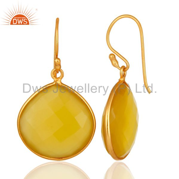 Designers Faceted Yellow Moonstone 24K Gold Plated Sterling Silver Drop Earrings
