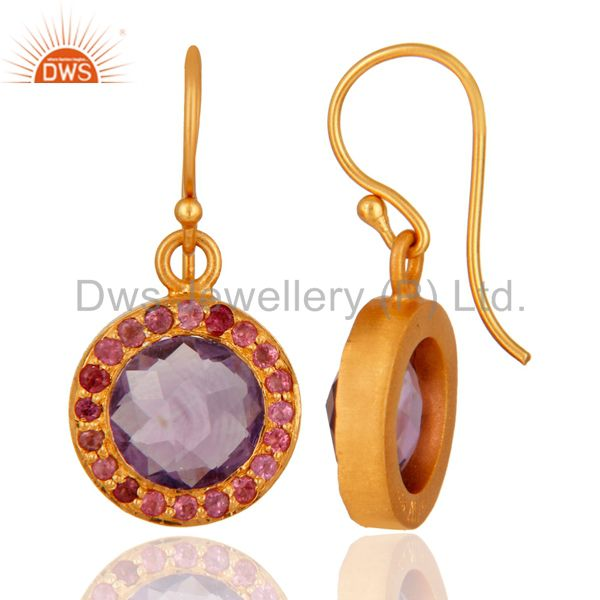 Designers 925 Sterling Silver Amethyst Gemstone Dangle Earring With 18K Gold Plated