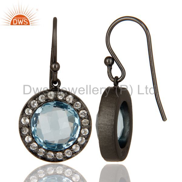 Designers Oxidized Sterling Silver Blue Topaz And White Topaz Halo Dangle Earrings