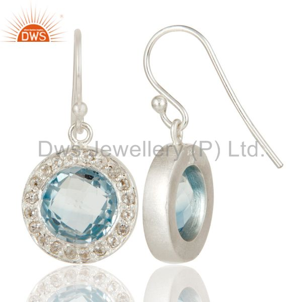 Designers Solid 925 Sterling Silver Blue Topaz And White Topaz Halo Dangle Earrings