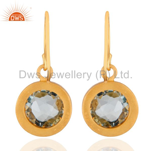 Suppliers 14K Yellow Gold Plated Sterling Silver Blue Topaz And White Topaz Halo Earrings