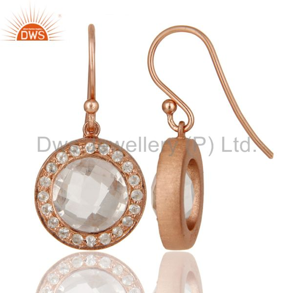 Designers 18K Rose Gold Plated Sterling Silver Crystal Quartz & White Topaz Dangle Earring